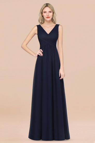 BMbridal Glamorous Chiffon V-Neck Sleeveless Burgundy Bridesmaid Dress with Draped Back_28