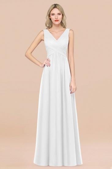 BMbridal Glamorous Chiffon V-Neck Sleeveless Burgundy Bridesmaid Dress with Draped Back_1