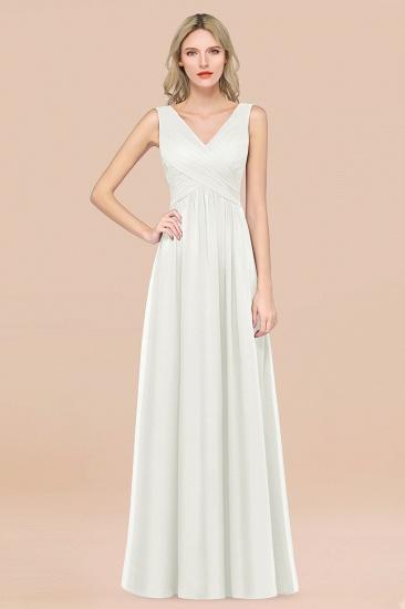 BMbridal Glamorous Chiffon V-Neck Sleeveless Burgundy Bridesmaid Dress with Draped Back_2