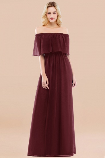 BMbridal Vintage Off-the-Shoulder Long Burgundy Bridesmaid Dress with Ruffle_10