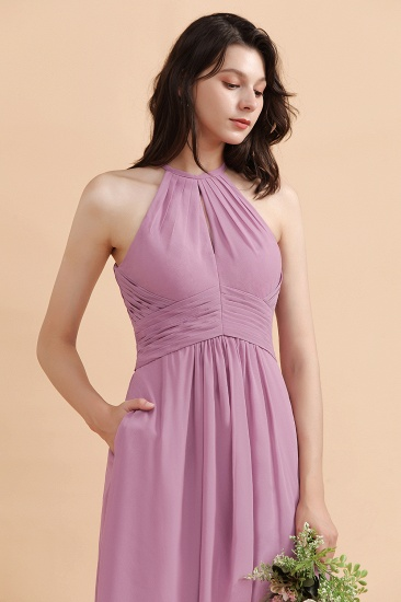 BMbridal Elegant Jewel Wisteria Chiffon Ruffles Bridesmaid Dress with Pockets On sale_8
