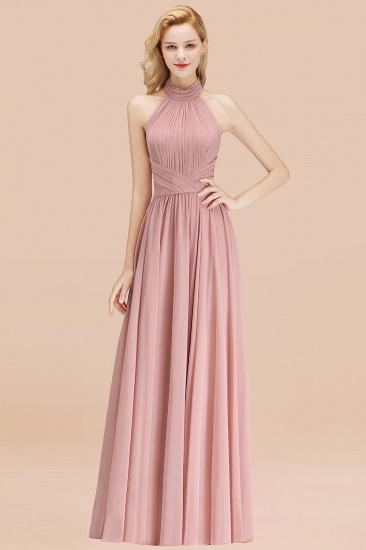 BMbridal Gorgeous High-Neck Halter Backless Bridesmaid Dress Dusty Rose Chiffon Maid of Honor Dress_57