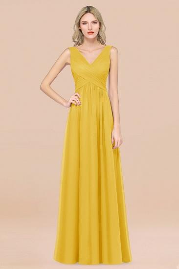 BMbridal Glamorous Chiffon V-Neck Sleeveless Burgundy Bridesmaid Dress with Draped Back_17