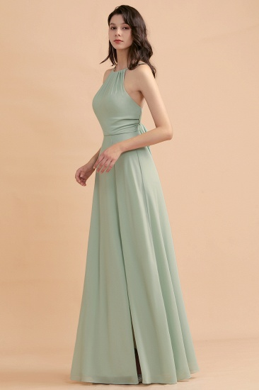 BMbridal Stylish Jewel Sleeveless Dusty Sage Chiffon Bridesmaid Dress with Ruffles_6