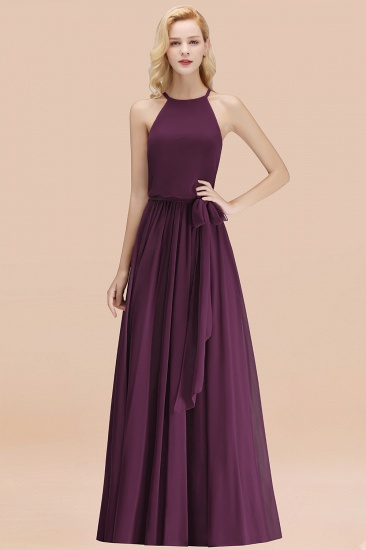 BMbridal Affordable Halter Bow Long Bridesmaid Dress Modest Burgundy Chiffon Wedding Party Dress_20