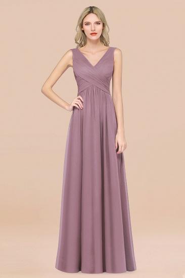 BMbridal Glamorous Chiffon V-Neck Sleeveless Burgundy Bridesmaid Dress with Draped Back_43