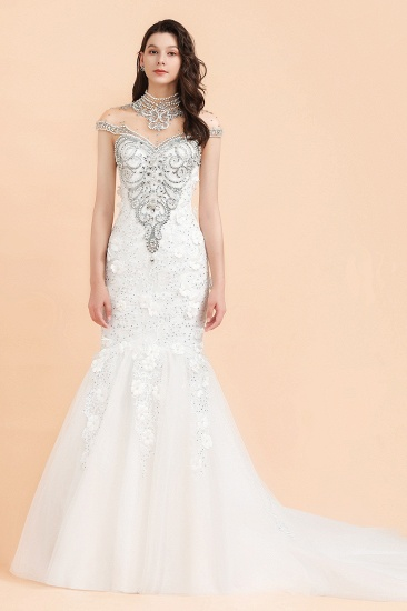 BMbridal Luxury Mermaid Wedding Dress Tulle Lace Sequins Sleeveless Bridal Gowns with Pearls_3
