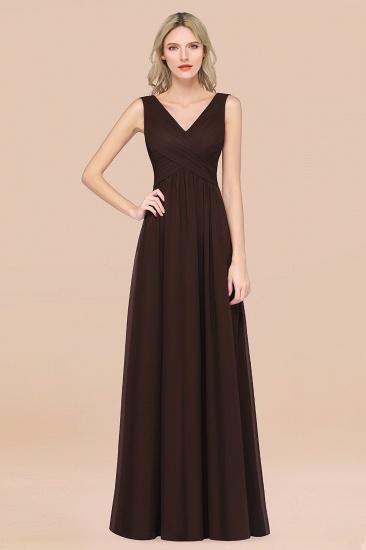 BMbridal Glamorous Chiffon V-Neck Sleeveless Burgundy Bridesmaid Dress with Draped Back_11