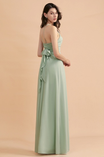 BMbridal Stylish Jewel Sleeveless Dusty Sage Chiffon Bridesmaid Dress with Ruffles_8