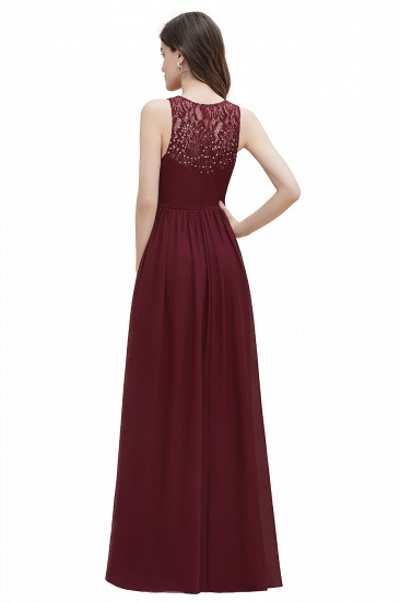 BMbridal Elegant V-Neck Lace Ruffles Bridesmaid Dress Sequins Burgundy Chiffon Evening Dress_17