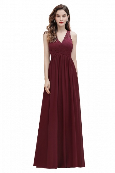 BMbridal Elegant V-Neck Lace Ruffles Bridesmaid Dress Sequins Burgundy Chiffon Evening Dress_1