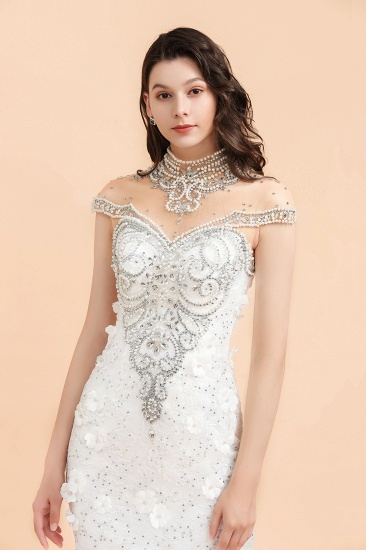 BMbridal Luxury Mermaid Wedding Dress Tulle Lace Sequins Sleeveless Bridal Gowns with Pearls_7