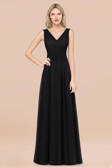 BMbridal Glamorous Chiffon V-Neck Sleeveless Burgundy Bridesmaid Dress with Draped Back_29