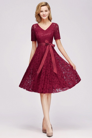 Burgundy Lace Short Sleeve Homecoming Dress Mini Party Dress On Sale