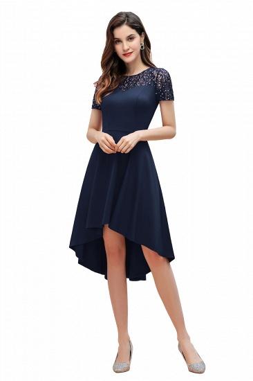 BMbridal Lovely Jewel Satin Sequins Bridesmaid Dress Short Sleeve Burgundy Cocktail Dress_3