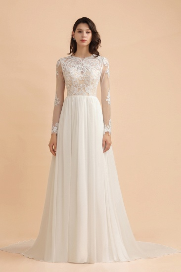 Elegant A-Line Chiffon Lace Wedding Dress Long Sleeves Jewel Ruffles Bridal Gowns On Sale_3