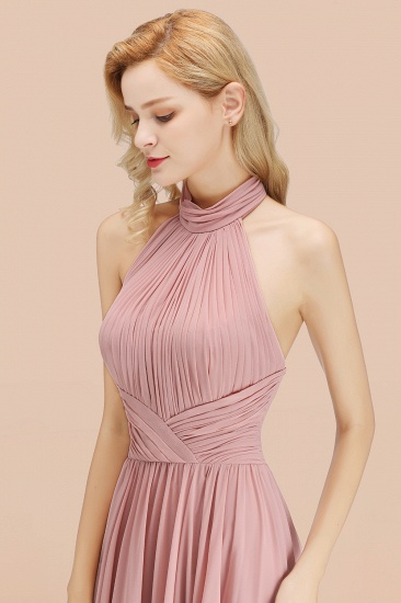 BMbridal Gorgeous High-Neck Halter Backless Bridesmaid Dress Dusty Rose Chiffon Maid of Honor Dress_56