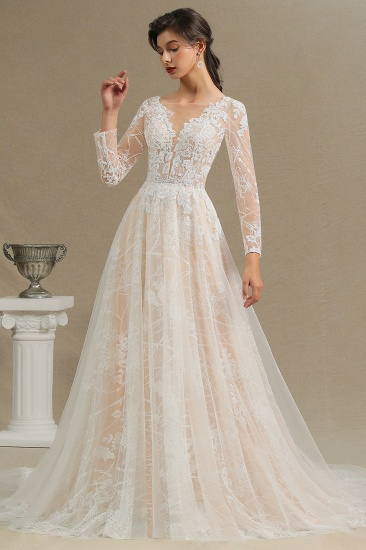 BMbridal Long Sleeves Lace Wedding Dress Online_6