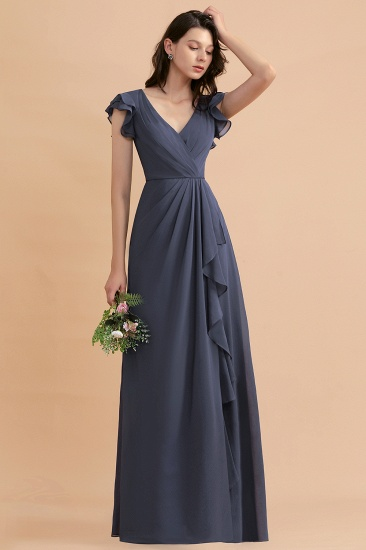 BMbridal Affordable V-Neck Chiffon Ruffles Bridesmaid Dress with Pockets On Sale_6