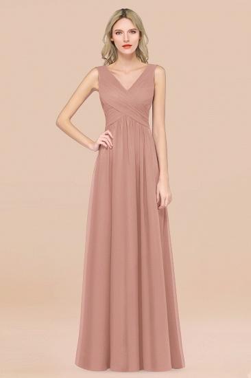 BMbridal Glamorous Chiffon V-Neck Sleeveless Burgundy Bridesmaid Dress with Draped Back_6
