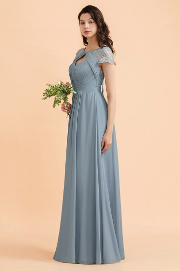 BMbridal Chic Short Sleeves Lace Chiffon Bridesmaid Dress with Ruffles Online_5