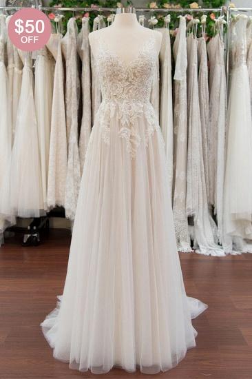 BMbridal Elegant Appliques A-line V-neck Wedding Dress Straps Sleeveless Tulle Bridal Gowns On Sale