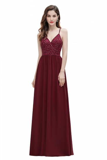 BMbridal Fabulous A-line Burgundy Chiffon Bridesmaid Dress V-Neck Spaghetti Straps Sequins Evening Dress_1