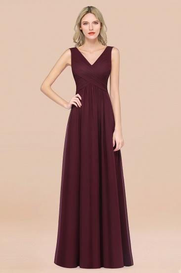 BMbridal Glamorous Chiffon V-Neck Sleeveless Burgundy Bridesmaid Dress with Draped Back_47