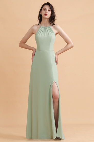 BMbridal Stylish Jewel Sleeveless Dusty Sage Chiffon Bridesmaid Dress with Ruffles_4