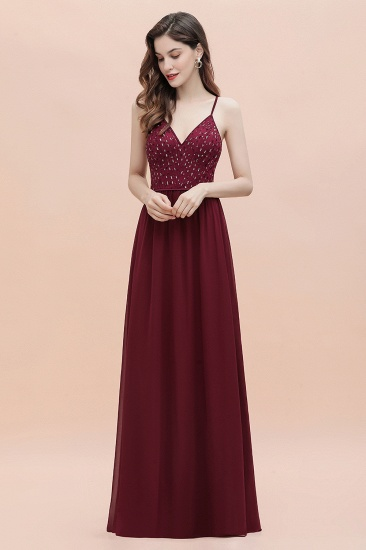 BMbridal Fabulous A-line Burgundy Chiffon Bridesmaid Dress V-Neck Spaghetti Straps Sequins Evening Dress_8
