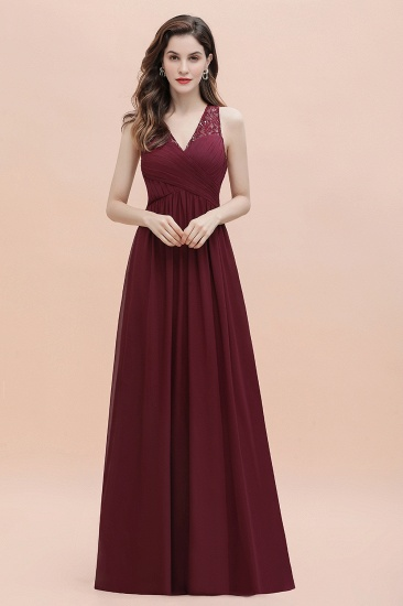 BMbridal Elegant V-Neck Lace Ruffles Bridesmaid Dress Sequins Burgundy Chiffon Evening Dress_18