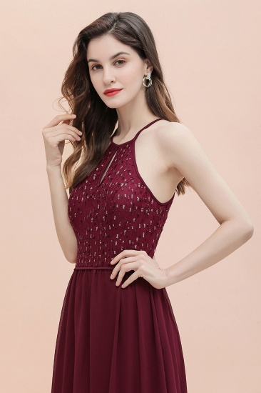 BMbridal Glamorous Halter A-line Bridesmaid Dress Chiffon Sequins Elegant Party Maxi Dress_8