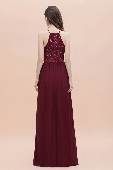 BMbridal Glamorous Halter A-line Bridesmaid Dress Chiffon Sequins Elegant Party Maxi Dress_5