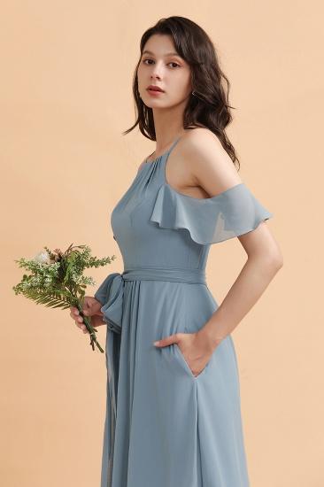 BMbridal Stylish Cold-Shoulder Ruffles Chiffon Bowknot Bridesmaid Dress with Pockets On Sale_8