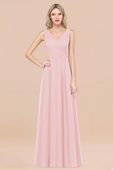BMbridal Glamorous Chiffon V-Neck Sleeveless Burgundy Bridesmaid Dress with Draped Back_3