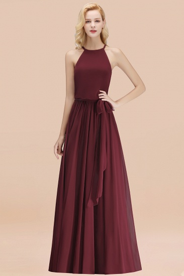 BMbridal Affordable Halter Bow Long Bridesmaid Dress Modest Burgundy Chiffon Wedding Party Dress_10