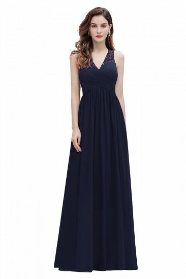 BMbridal Elegant V-Neck Lace Ruffles Bridesmaid Dress Sequins Burgundy Chiffon Evening Dress_3