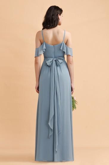 BMbridal Stylish Cold-Shoulder Ruffles Chiffon Bowknot Bridesmaid Dress with Pockets On Sale_3