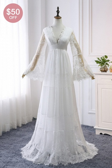 BMbridal Chic Empire Lace Tulle Wedding Dress Long Sleeves V-Neck Appliques Bridal Gowns On Sale_2