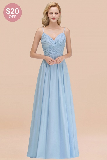 BMbridal Chic V-Neck Pleated Backless Bridesmaid Dresses with Spaghetti Straps_51
