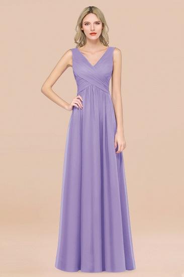 BMbridal Glamorous Chiffon V-Neck Sleeveless Burgundy Bridesmaid Dress with Draped Back_21