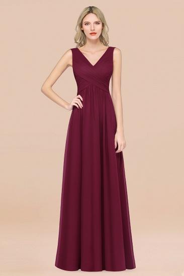 BMbridal Glamorous Chiffon V-Neck Sleeveless Burgundy Bridesmaid Dress with Draped Back_44