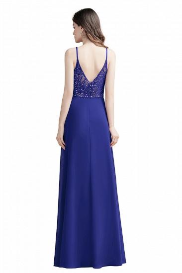 BMbridal Elegant V-Neck Burgundy Chiffon Bridesmaid Dress Lace Sequins Spaghetti Straps Evening Dress_13