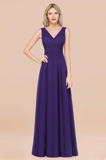 BMbridal Glamorous Chiffon V-Neck Sleeveless Burgundy Bridesmaid Dress with Draped Back_19