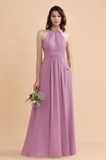 BMbridal Elegant Jewel Wisteria Chiffon Ruffles Bridesmaid Dress with Pockets On sale_4