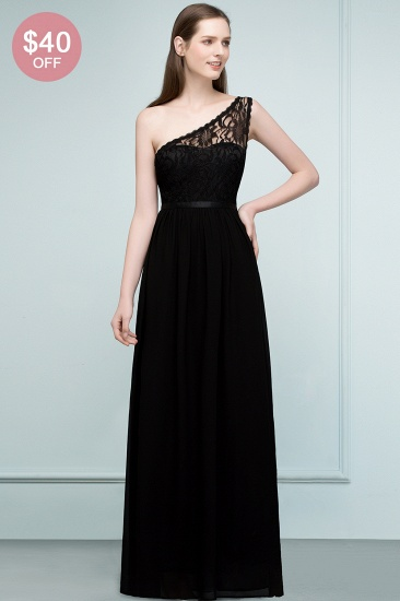 BMbridal Chic One Shoulder Black Lace Long Bridesmaid Dresses Online In Stock