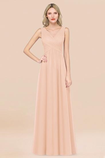 BMbridal Glamorous Chiffon V-Neck Sleeveless Burgundy Bridesmaid Dress with Draped Back_5