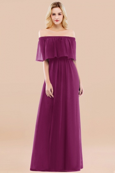 BMbridal Vintage Off-the-Shoulder Long Burgundy Bridesmaid Dress with Ruffle_42