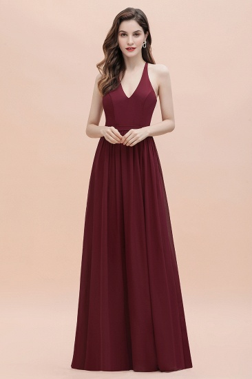 BMbridal A-Line Lace Burgundy Bridesmaid Dress Lace Sequins Sleeveless Evening Dress_8