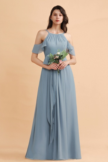 Stylish Cold-Shoulder Ruffles Chiffon Bowknot Bridesmaid Dress with Pockets On Sale